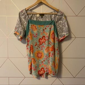 Anthropologie Fei Silk Embroidered Blouse
